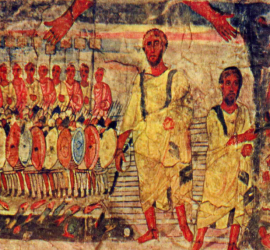 (Dura Europos - Fresco from 2nd C Synagogue Jews cross the Red Sea pursued by Pharaoh.)